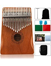 $20 » YOUEON 17 Keys Kalimba Thumb Piano with Tune Hammer, Mahogany Wood Kalimba Finger Piano with Waterproof Protective Box, Musical Instrument Gifts for Kids, Adults, Beginners and Porfesstional