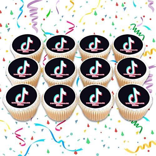 """8 cupcakes TIK TOK cake decoration 7.5/"""" ICING WAFER edible cake topper"""
