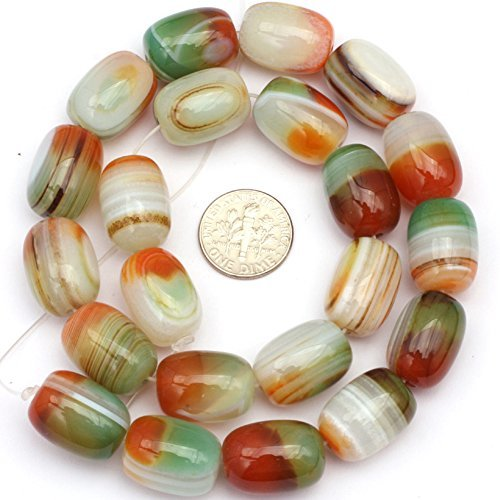- 13x18mm Natural Semi Precious Column Multicolored Banded Agate Gemstone Beads for Jewelry Making Strand 15