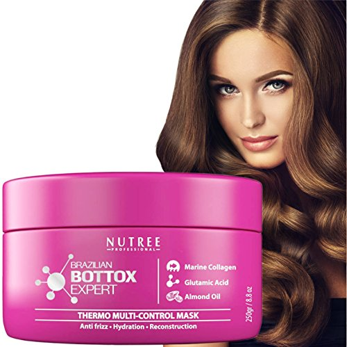 Brazilian Hair Bottox Expert Thermal Mask 8.8 fl.oz - Contains Marine Collagen and Almond Oil - Formaldehyde-Free - Repairs the Hair Elasticity and Flexibility, Softens, Moisturizers, Adds Shine - Bes