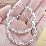 Women Fashion 925 Silver Twist Rope Dangle Drop Hoop Earrings Wedding Jewelry