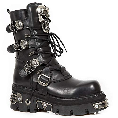 Shoes with 5 Up UK Rock 7 Buckles New Boots Lace Black Leather Skull pqAYnR5w