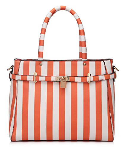 Big Handbag Shop Womens Designer Boutique Striped Pattern Tote Padlock Top Handle Shoulder Bag (Orange - White) ()
