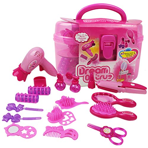 Qukueoy Kids Beauty Salon Set Toys 17pcs-Little Girl Makeup Kit Pretend Play Hair Station with Case, Hairdryer, Brush,Mirror & Styling Accessories