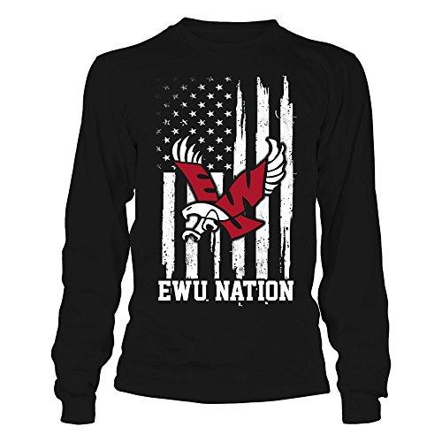 FanPrint Eastern Washington Eagles T-Shirt - Nation - Longsleeve Tee/Black/M