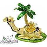 Jerusalem Camel With Palm Tree Figurine Pewter Enamel Trinket Box bejeweled with Crystals