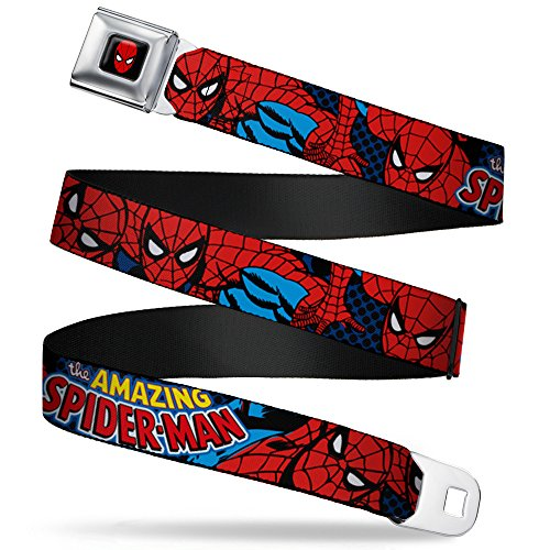 """Buckle Down Men Seatbelt Belt Spider-Man WSPD001, Amazing Spider-Man, 1.5"""" Wide, 24-38 Long"""