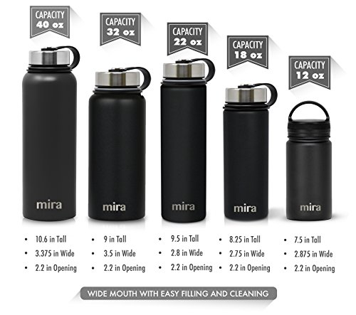 24 oz 710 ml, 0.75 qt MIRA Stainless Steel Water Bottle with Straw Lid , Iris BPA-Free Straw Cap Hot for 12 Hours Vacuum Insulated Metal Thermos Flask Keeps Cold for 24 Hours