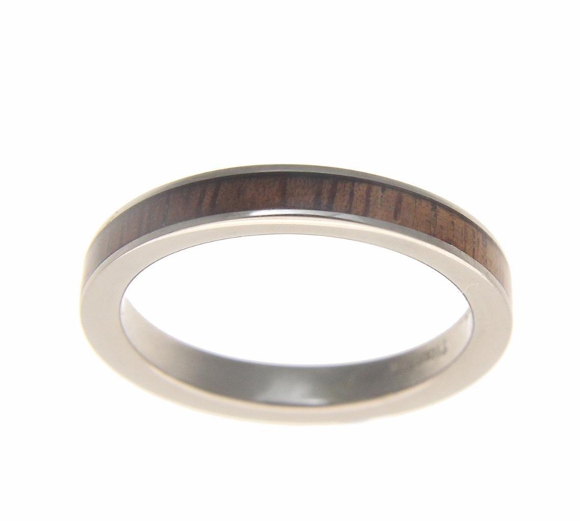 Genuine inlay Hawaiian koa wood wedding band ring titanium 3mm size 6.5 by Arthur's Jewelry (Image #2)