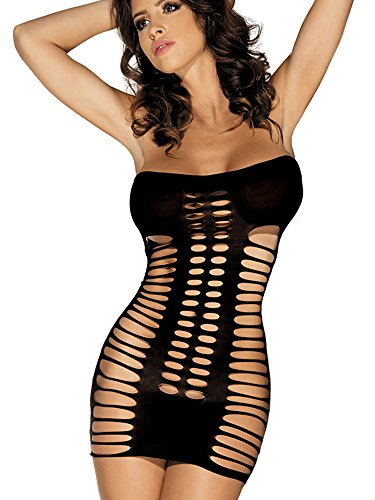 Beauty's Love Women's Sexy Seamless Cut Out Tube Bodysuit Mini Dresses Hosiery Chemise Lingerie Black