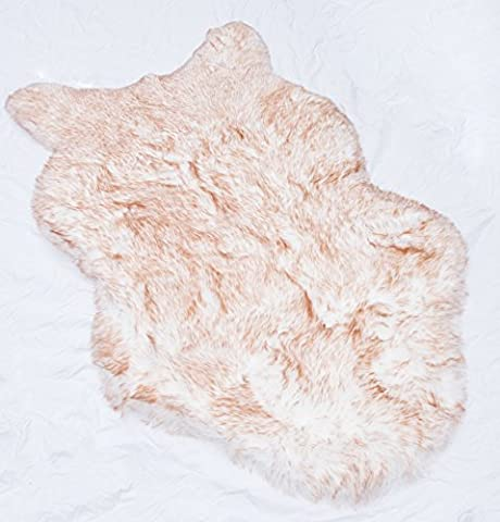 Rugs 4 Less Collection – Faux Fur Wolf Sheep Bear Imitation Animal Skin Fur Pelt Shag Rug - Ivory Tip Dyed Brown (Fox Fur Rug)