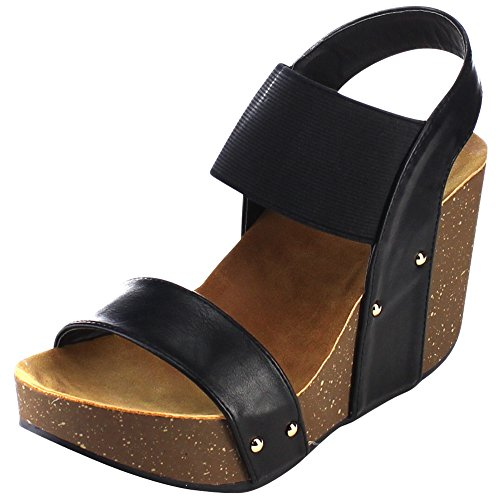 Cambridge Select Women's Open Toe Single Band Stretch Elastic Ankle Strap Slingback Chunky Platform Wedge Sandal (7 B(M) US, Black PU)