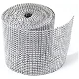 "4.75""x10 Yards Silver DIAMOND MESH WRAP RHINESTONE Ribbon (SILVER, 1)"