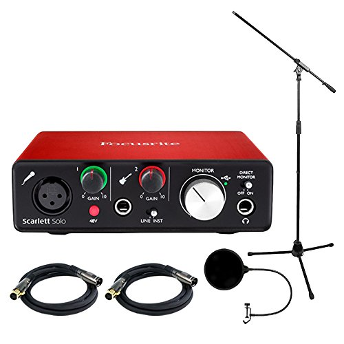 Focusrite Scarlett Solo USB Audio Interface (2nd Generation) Bundle with 2 XLR Cables, Microphone Stand, Wind Screen by Focusrite