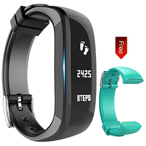 Fitness Tracker Watch - Activity Wristband: Bluetooth band - Wireless Smart Bracelet - Wearable Health Pedometer Sleep Monitor with replacement band for IOS & Android Smartphone - EIISON (Teal Black)
