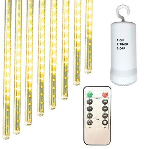 Remote LED Meteor Shower Christmas Lights,Battery Powered,11.8in 8 Tubes 144 LED Cascading Snow Fall Icicle Raindrop Decor Lights for Holiday Party Wedding Christmas Tree Decoration (Warm White) (Tree Christmas Cascading)