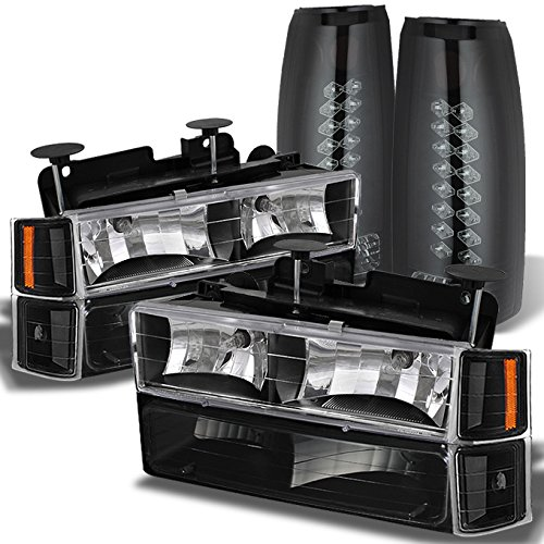 (For Chevy C10 K10 C/K Tahoe Suburban Silverado Pickup Black Headlights + Black Smoked LED Tail Lamp)