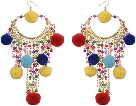 2color Bohemian Colorful Big Long Fringed Tassel Chandelier Drop Dangle Earrings for Women Teen Girls
