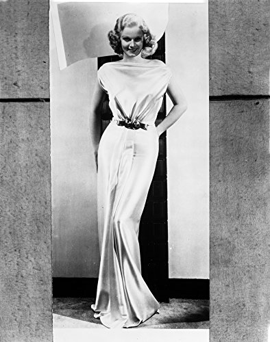 (Jean Harlow Posed in White Gathered Bodice Silk Shoulder Dress and Waist Belt with Straight Skirt and Pleated Bottom Photo Print (24 x 30))