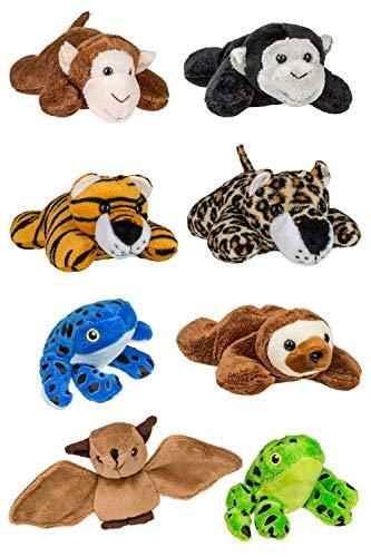Wildlife Tree (8 Pack) Jungle Mini 4 Inch Small Stuffed Animals, Zoo Animal Toys ()