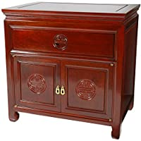 Oriental Furniture Rosewood Bedside Cabinet - Cherry
