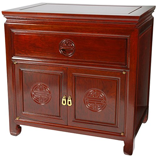 Rosewood Furniture - Oriental Furniture Rosewood Bedside Cabinet - Cherry