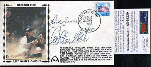 RICK FERRELL CARLTON FISK Autograph 1988 FDC Hand Signed Cache - PSA/DNA Certified - MLB Cut ()