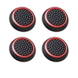 Fosmon Silicone Thumb Stick Analog Controller Grip Caps (4 pack / 2 Pair) for PS4, PS3, Wii U, Wii Nunchuck, Xbox One, and Xbox 360 Gamepads - Fosmon Retail Packaging (Black / Red)