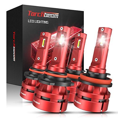 Torchbeam T2 9005 H11 LED Headlight Bulb Kit, High Beam Low Beam, 6000K Cool White, 200% Brightness, Compact Design, Replacement Bulbs, Pack of 4