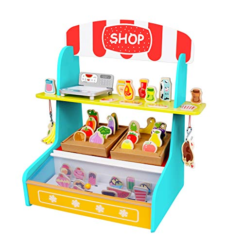 TOYSTER'S My Play Shop Wooden Grocery Store Stand | Pretend Play Kitchen Workshop for Toddler Girls and Boys | Farmers Market Lemonade Wood Toy Includes Play Fruits, Vegetables and Ice Cream (Furniture Grocery Store)