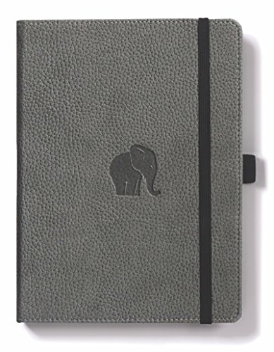 Elephant Leather (Dingbats Wildlife Extra Large A4+ (8.5 x 11.8) Notebook - PU Leather, Micro-Perforated 100gsm Cream Pages, Inner Pocket, Elastic Closure, Pen Holder, Bookmark (Lined, Gray Elephant))