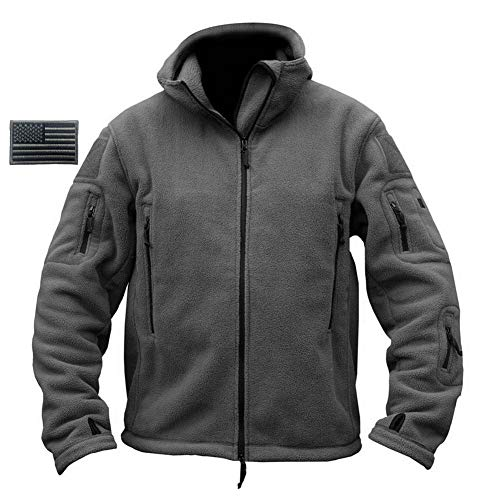 ReFire Gear Mens Warm Military Tactical Sport Fleece Hoodie Jacket,Gray,Large