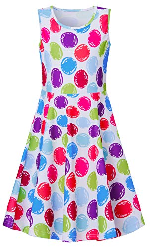 Apparel 14 - Girls Rainbow Dots Dresses 7-16, Comfy Summer Holiday Vacation Sleeveless A line Frocks for Girls,Colorful Dot Stick Figure Comic Design