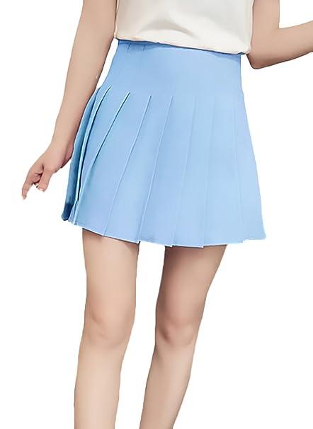 5e72c6d639 Falda Plisada Mujer Color Sólido Cintura Alta Una Línea Basic Uniformes Faldas  Verano Moda Informal Elegantes Minifalda Ropa  Amazon.es  Ropa y accesorios