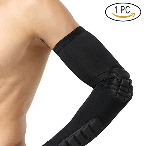 ads Breathable Crashproof Compression Arm Guard Support Protector for Basketball,Football,Baseball,Tennis,Cycling,Running (L, Black) (Elbow Forearm Guard)