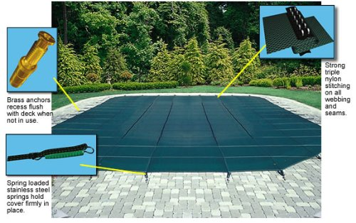 Arctic Armor Mesh Rectangular Safety Cover for 12ft x 24ft In-Ground Pools with 12-Year Warranty Color: Blue (WS305BU)
