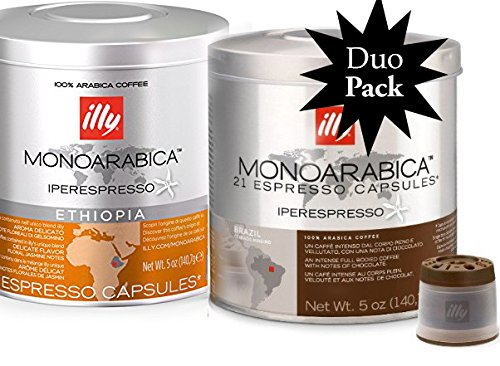 Illy Iper Capsules Monoarabica Variety Duo (2) 21-count Cans, 1 Ethiopia and 1 Brazil, 42 Shots Total
