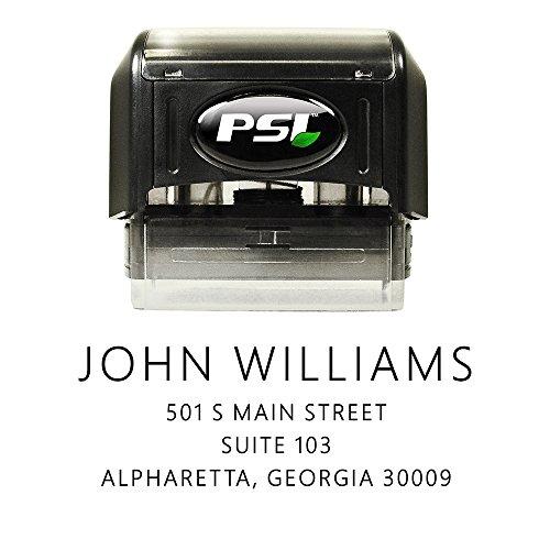 Font Black Ink - Self Ink Return Address Stamp, Personalized, 4 Lines, Sans Serif Font, Black Ink