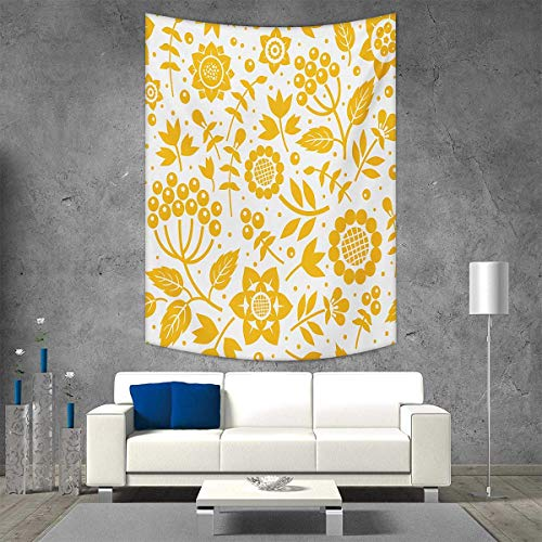 smallbeefly Yellow Flower Vertical Version Tapestry Rustic Composition Berries Twigs Graphic Flora Nature Leaves Pattern Throw, Bed, Tapestry Yoga Blanket 57W x 74L INCH Yellow White