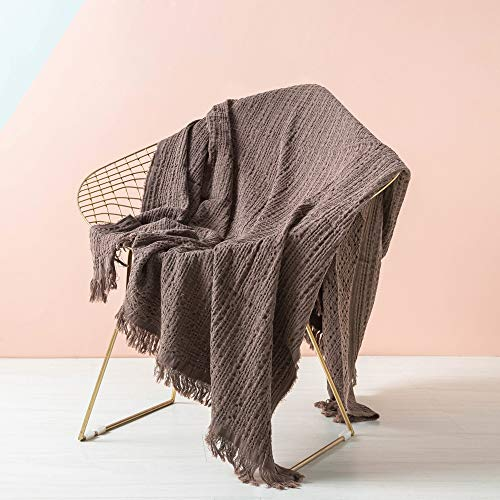 - Simple&Opulence Cotton Throw Blanket Waffle Weave Cable Knit Woven with Tassels Solid Cozy Blanket Scarf Shawl Farmhouse Decoration (Brown)