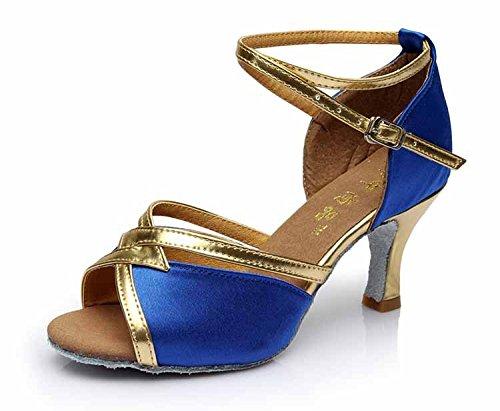 YFF Mädchen Ballroom tango Frauen salsa Latin Dance Schuhe 5 cm und 7 cm hohem Absatz,Blau,8.