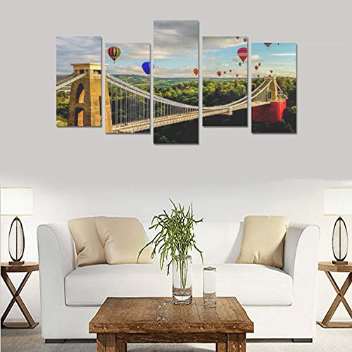 Clifton Suspension Bridge Panoramic View (no Frame)canvas Print Sets Wall Art Picture 5 Pieces Paintings Posters Prints Photo Image On Canvas Ready To Hang For Living Room Bedroom Home Office Wall De