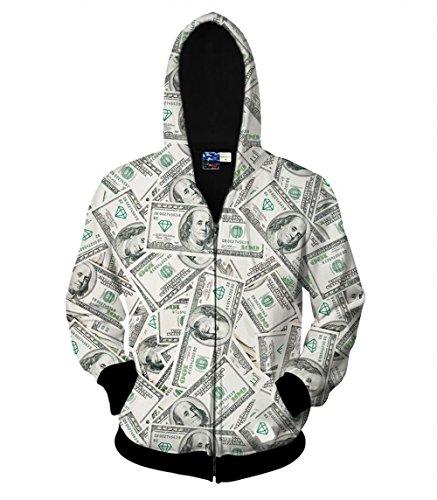 Unisex Animal Zip Up Hoodie All Over Print Jacket Sweatshirt For Men & Women (Money, 2X-Large/3X-Large)
