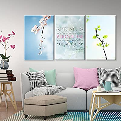 With Expert Quality, Alluring Object of Art, 3 Panel Cherry Blossom in Spring and Inspirational Quotes x 3 Panels