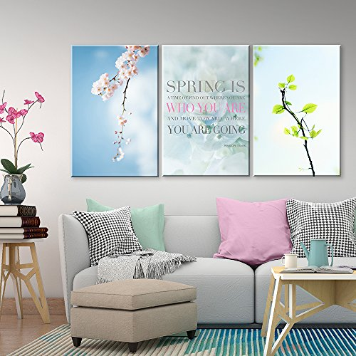 3 Panel Cherry Blossom in Spring and Inspirational Quotes x 3 Panels