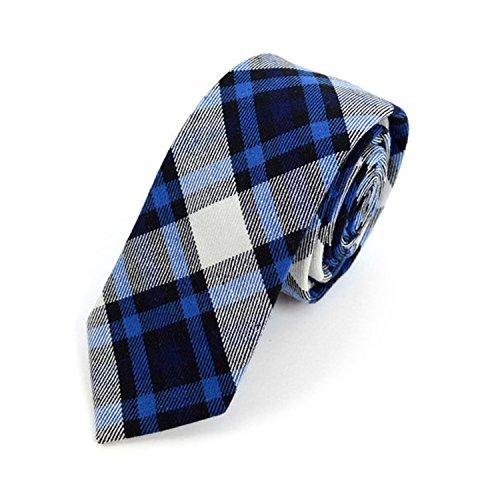 Plaid Flannel Tie - Men's Navy Plaid Flannel Cotton Slim Tie