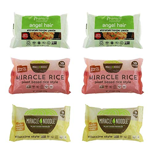 Miracle Noodle Shirataki Konjac Pasta and Rice Variety Pack, 7 oz (Pack of 6), Angel Hair, Rice, Fettucine, Zero Net Carbs, Low Calorie, Gluten Free, Soy Free, Keto Friendly (Best Way To Cook Lasagna Noodles)