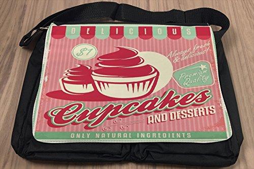 Borsa Tracolla Nostalgico Divertimento Cupcakes Stampato