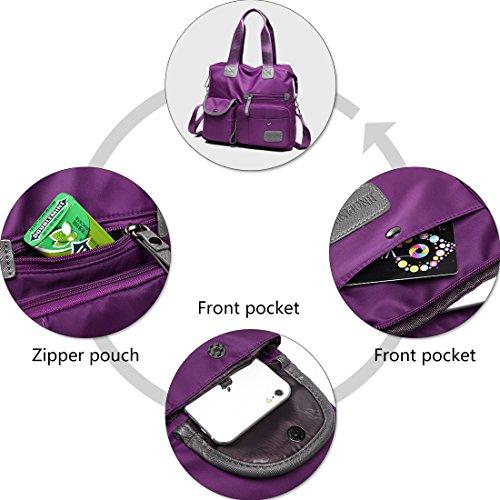 Crossbody Multi Handbag Messenger Shoulder With Pocket Zip Travel Women Bags Purple Bag Nylon t1qwzta