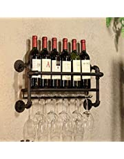 Industrial Wall Mounted Wine Rack-6 Bottle Metal Storage Holder-with 5 Stem Glass Holder -23inch